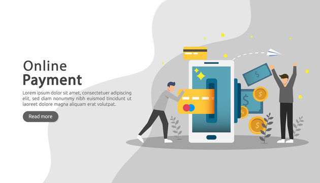 mobile payment or money transfer concept. E-commerce market shopping online illustration with tiny people character. template for web landing page, banner, presentation, social media, print media