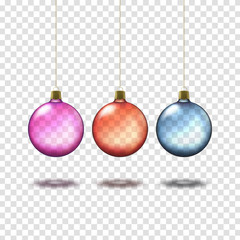 Transparent colorful christmas balls isolated on transparent background. Realistic christmas decorations. Vector illustration.