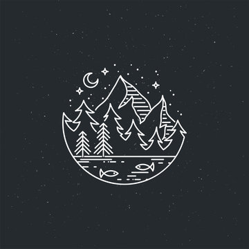 Night mountains. Nature exploration vector vintage poster. Modern flat linear vector illustration