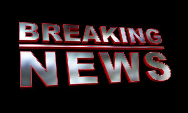 3D render of a generic breaking news broadcating presentation