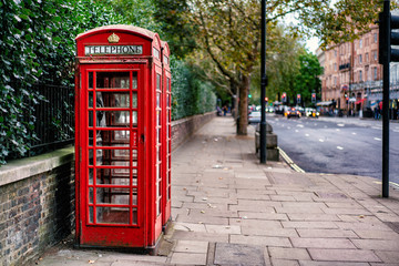 Traditional Red Telephone Box in London city in England