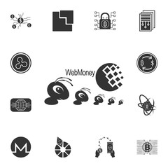 web money and ants icon. Crypto currency set icons
