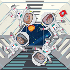 astronauts floating in space ship