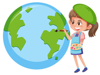 Girl painting planet earth