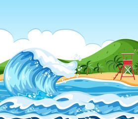Wave beach landscape scene