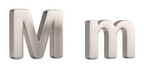 Letter m from steel solid alphabet isolated on white background. 3D illustration.