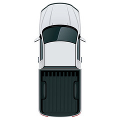 Car top view / Vehicle overhead isolated on white background, perfect use of 2d floor plans and any design project