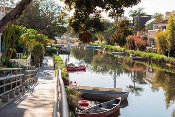Venice Canals Historic District, Los Angeles, California founded by Abbot Kinney. Man made mesmerizing canals and multi-million dollar homes with amazing gardens. Fototapete