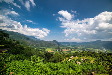 Beautiful landscape of valley in Phu Lanka, small trail, hike root, majestic picturesque view in sunny day