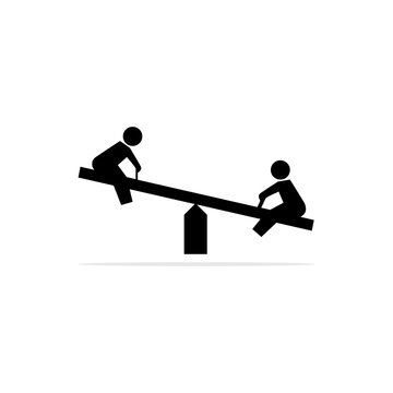 Play seesaw icon. Vector concept illustration for design.