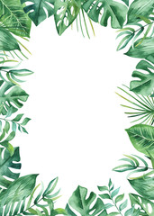 Watercolor frame with tropical leaves and flowers, watercolor stains. Golden, round, polygonal pattern for cards, invitations, wedding and summer designs.