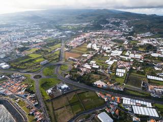 Aerial view of Ponta Delgada, San Miguel island, Azores, Portugal.
