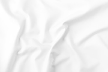 Abstract white fabric texture background. Wavy fabric