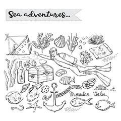 Sea adventures.Vector scuba diver over white .Marine.Underwater