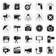 Photography and videography icon set on circles background for graphic and web design, Modern simple vector sign. Internet concept. Trendy symbol for website design web button or mobile app
