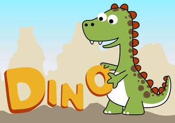 Dinosaur cartoon with its name alphabets