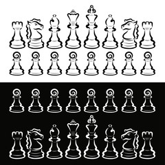 Set of white and black chess, rivalry, intellectual game