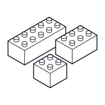 Plastic Building Blocks and Tiles black white outline version. Children and variety of children's toys. Flat Plastic Building Blocks.