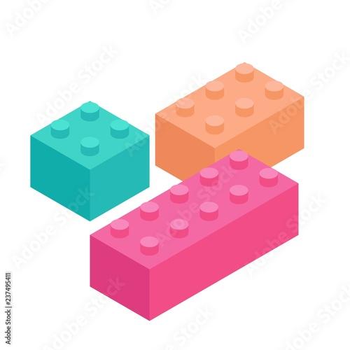 Plastic Building Blocks and Tiles black white outline version