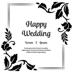 invitation card for wedding with floral hand draw vector