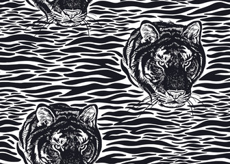 Seamless pattern with Tiger fur stripes and tiger head close-up. Beast style.