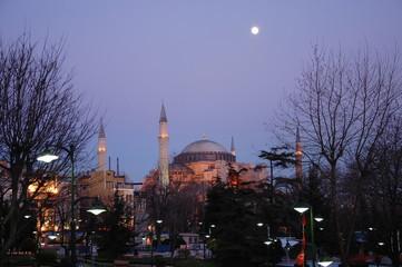 Full moon over  Hagia Sophia at night, Istanbul, Turkey