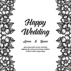 Wedding invitation card with flowers hand draw vector art