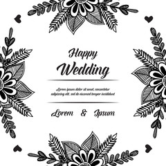 Wedding Invitation with floral hand draw vector illustration