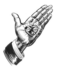 Hand with a diamond heart. Ink black and white drawing