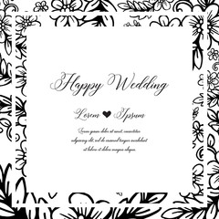 branches decorative wreath and frame for wedding vector