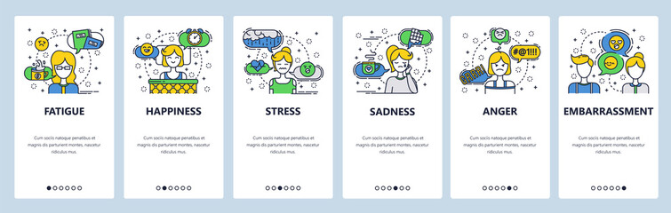 Web site onboarding screens. Human feelings and emotions. Menu vector banner template for website and mobile app development. Modern design linear art flat illustration.