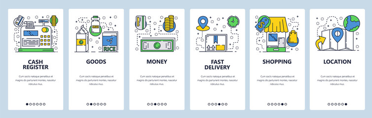 Wall Mural - Web site onboarding screens. Online shopping and money payment. Menu vector banner template for website and mobile app development. Modern design linear art flat illustration.