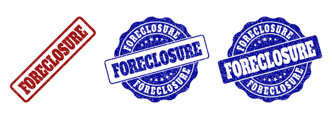 FORECLOSURE grunge stamp seals in red and blue colors. Vector FORECLOSURE marks with grunge style. Graphic elements are rounded rectangles, rosettes, circles and text captions.