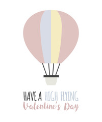 Romantic card with balloon illustration. Valentine's day template