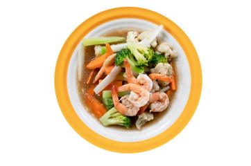 stir-fried  shrimp with mixed vegetables