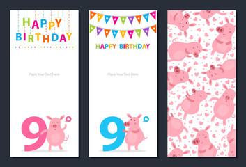 Birthday card with cute pig