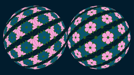 twins balloons with floral geometrical patterns pink blue