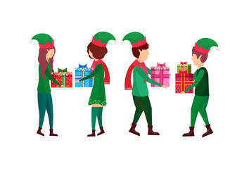 christmas boy girl present gift box each other elf santa helper concept flat full length female male cartoon character isolated horizontal