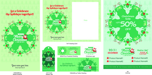 Christmas Greeting Card, Smartphone, Social media, print ad templates, Christmas and a happy new year Templates