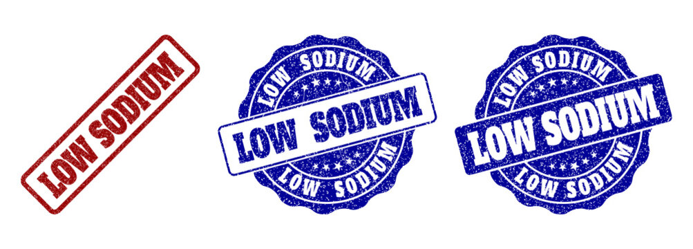 LOW SODIUM grunge stamp seals in red and blue colors. Vector LOW SODIUM imprints with grunge style. Graphic elements are rounded rectangles, rosettes, circles and text captions.