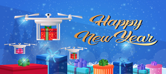 Drone delivery present new year merry christmas holiday concept gift box decoration flat horizontal