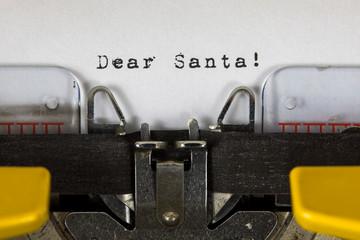 Dear Santa Printed on an Old Vintage Typewriter