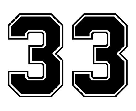 Classic Vintage Sport Jersey Number 33 in black number on white background for american football, baseball or basketball / logos and t-shirt.