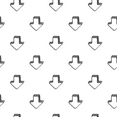 Seamless pattern hand drawn 3D arrow doodle icon. Hand drawn black sketch. Sign symbol. Decoration element. Isolated on white background. Flat design. Vector illustration