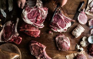 Foto auf Leinwand Fleisch Various cuts of beef food photography recipe idea