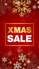 Merry Christmas Sale and New Year red golden Banner / background