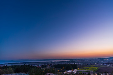 福島県 猪苗代 夕暮れ時の風景