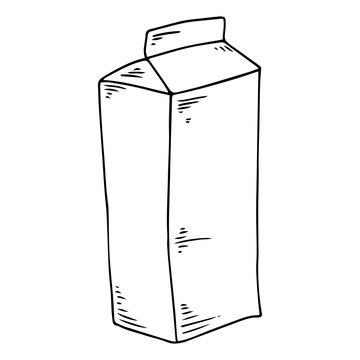 Packaging of milk or juice hand drawn. Vector illustration of a pack of milk or juice. Milk carton pack icon.