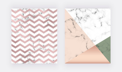 Marble geometric design with pink and green triangular, chevron foil texture. Modern templates for wedding invitation, banner, logo, card, flyer, poster, save the date