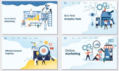 Online marketing, Best Web Analytics tools, Effective keyword targeting tools, Social Media advertising. Mockup landing page website design. Modern trend flat design concept of web page design for